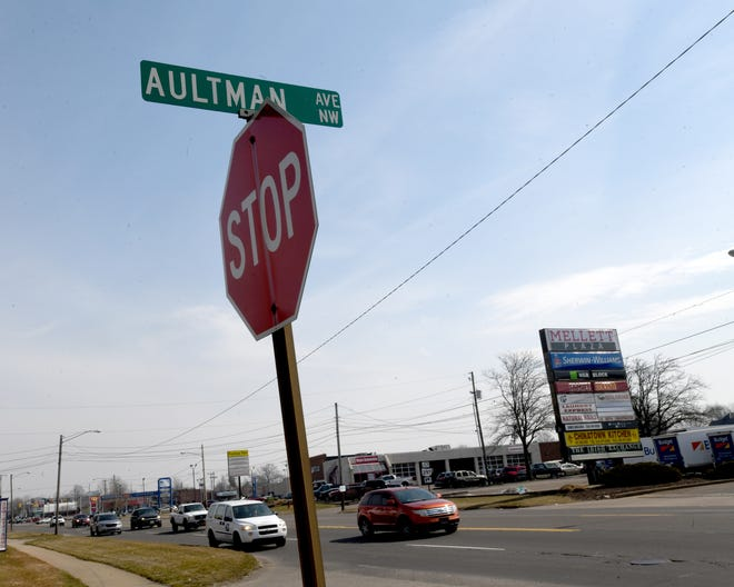 This busy intersection at Autman Ave. NW and Tuscarawas Street W will be updated with a pedestrian island and new crosswalk under plans City Council has approved.