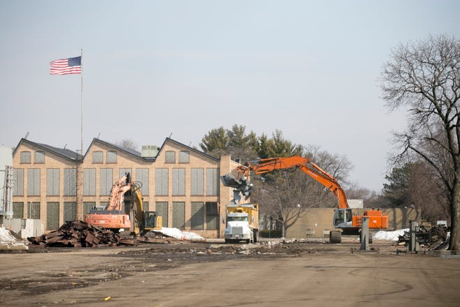 A demolition crew clears former shed structures at Ingersoll Machine Tools, 707 Fulton Avenue, on March 9 in Rockford. Ingersoll is expanding its facility at 707 Fulton Ave. to construct the structure of the next-generation Giant Magellan Telescope that will be assembled in the Andes Mountains in Chile.