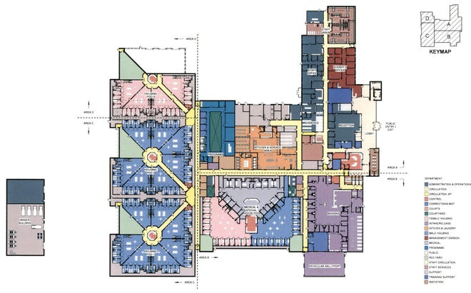 A floor plan shows the layout for the new Saline County Jail and Sheriff's Office that was approved by the county commission 5-0 during the meeting on Tuesday.