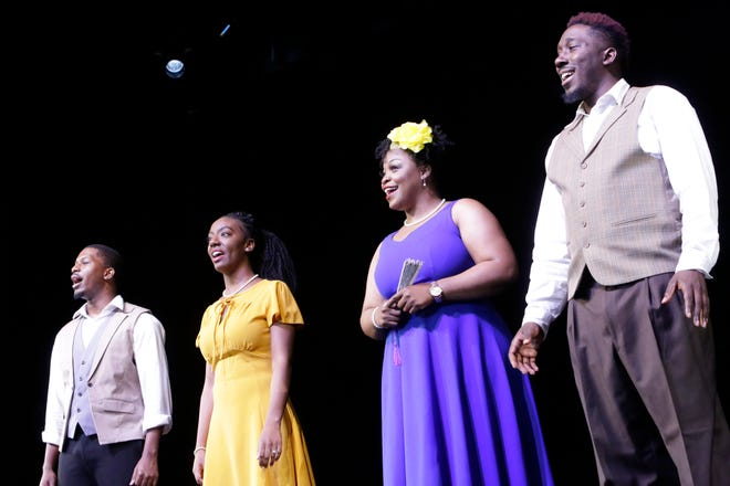 """Brian L. Boyd, Bria Holloway, Matelyn Alicia and DeMonte Polen during a 2020 performance of """"Jazzlinks."""""""
