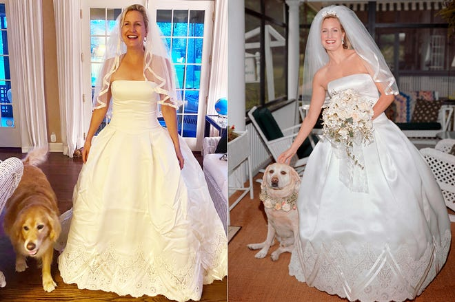 This combination photo shows Elizabeth Cole wearing her wedding gown with her dog Holly at her home in Lake Geneva, Wis., on May 26, 2020, left, and Cole in the same gown with her dog McGee on her wedding day on May 26, 2001. To celebrate her anniversary, Cole surprised her spouse by putting on her wedding gown from 19 years ago, recreated their reception menu and enlisted one of her four kids to DJ their first-dance song. And the priest who married them offered a special blessing on Zoom with friends and family joining in. (Elizabeth Cole, left, and Jessica Tampas Photography via AP)
