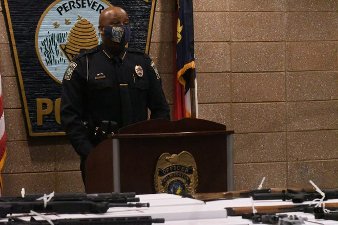 Wilmington Police Chief Donny Williams speaks as the Wilmington Police Department held a news conference on March 8 to discuss gun violence. The guns that were on display were recovered in a 30-day time period.
