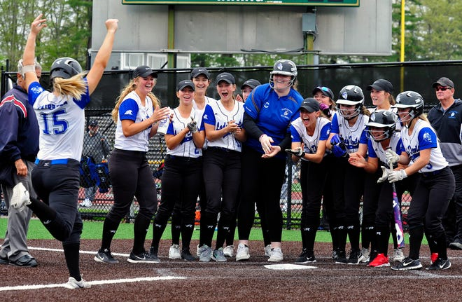 Fairhaven's Elyse Rebelo is cheered in by her teammates in a win over GNB Voc-Tech in 2018. The Blue Devils reached the 2019 Div. 2 South finals, where they lost to Norton.