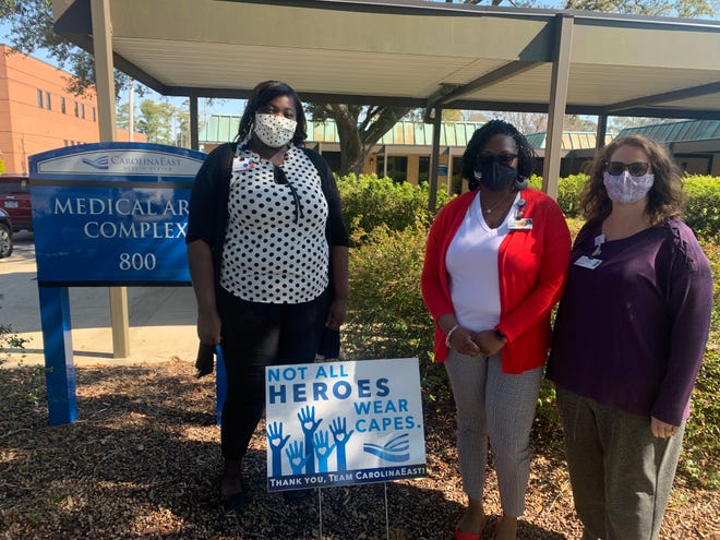 Avia Crouell, accounts receivable supervisor, Jacquina Jones, manager of accounts receivable and insurance and Eileen Daley, insurance associate manager are all working behind the scenes with patients at CarolinaEast to help with billing.