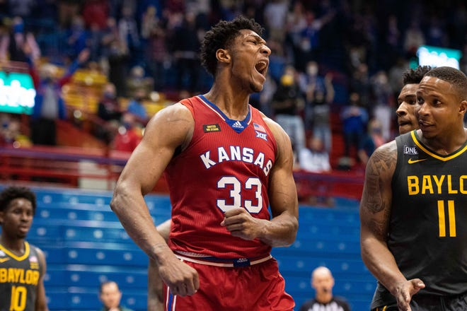 Kansas basketball junior forward David McCormack was named the Big 12's most improved player by the league coaches in the All-Big 12 awards released Monday. McCormack and Jayhawk senior guard Marcus Garrett were also tabbed second-team honorees.