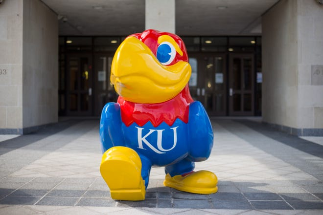 A Jayhawk sculpture outside the KU Memorial Union on March 8, 2021.