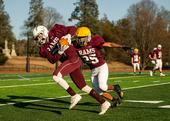 Northbridge runs drills during a recent practice. The Rams will face Blackstone Valley Tech on Monday.