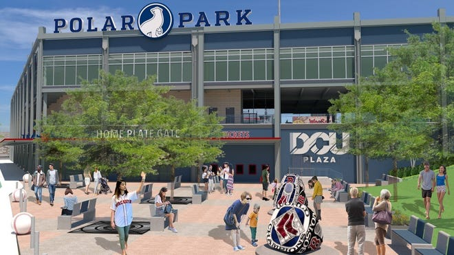 An artist's rendition of what Polar Park's DCU Plaza is projected to look like, complete with large replicas of Boston Red Sox championship rings.