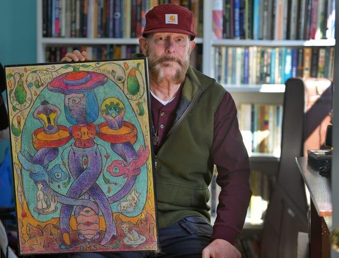 """Artist Howard B. Johnson Jr. of Worcester and his coronavirus-inspired art, """"Santa Muerte."""""""