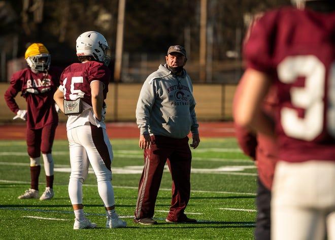 Northbridge football coach Ken LaChapelle leads his team during a practice last month.