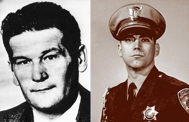 Lt. Alfred Stewart, left, of the San Bernardino County Sheriff's Department, and California Highway Patrol Officer Larry Wetterling, right, were shot and killed March 9, 1973 in the Cajon Pass by a parolee. The parolee also murdered a gas station attendant.