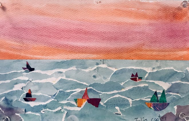 Julia Cootey, Newburyport fourth grader, created this collage inspired by Winslow Homer, for the Spring Art Walk.