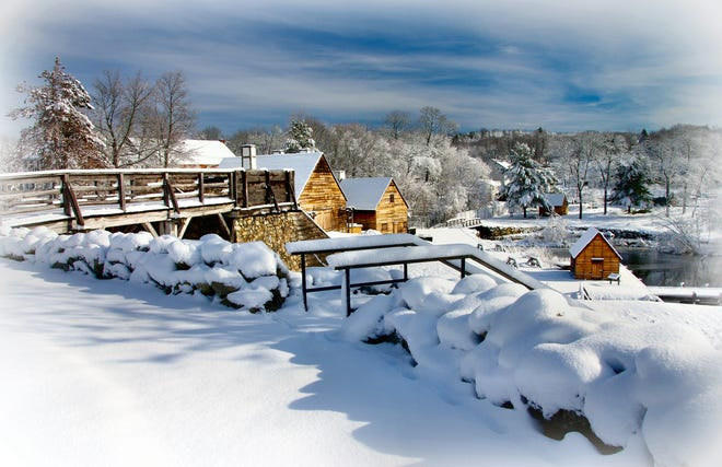 Saugus resident Charlie Zapolski earned second place for this photo of the snow-covered Saugus Iron Works in a National Weather Service photo contest.