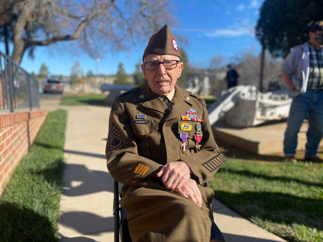 In this Feb. 22, 2021 photo, Sgt. 1st Class Marvin D. Cornett poses for a photo, in in Auburn, Calif. Cornett was awarded the Purple Heart and Bronze Star Medal during a ceremony. Cornett was assigned to Headquarters Company, 1st Battalion, 504th Parachute Infantry Regiment, 82nd Abn. Div. when he made the combat jump into Salerno, Italy and was later wounded during combat operations along the Mussolini Canal at the Anzio beachhead on Dec. 31, 1944. (U.S. Army via AP)
