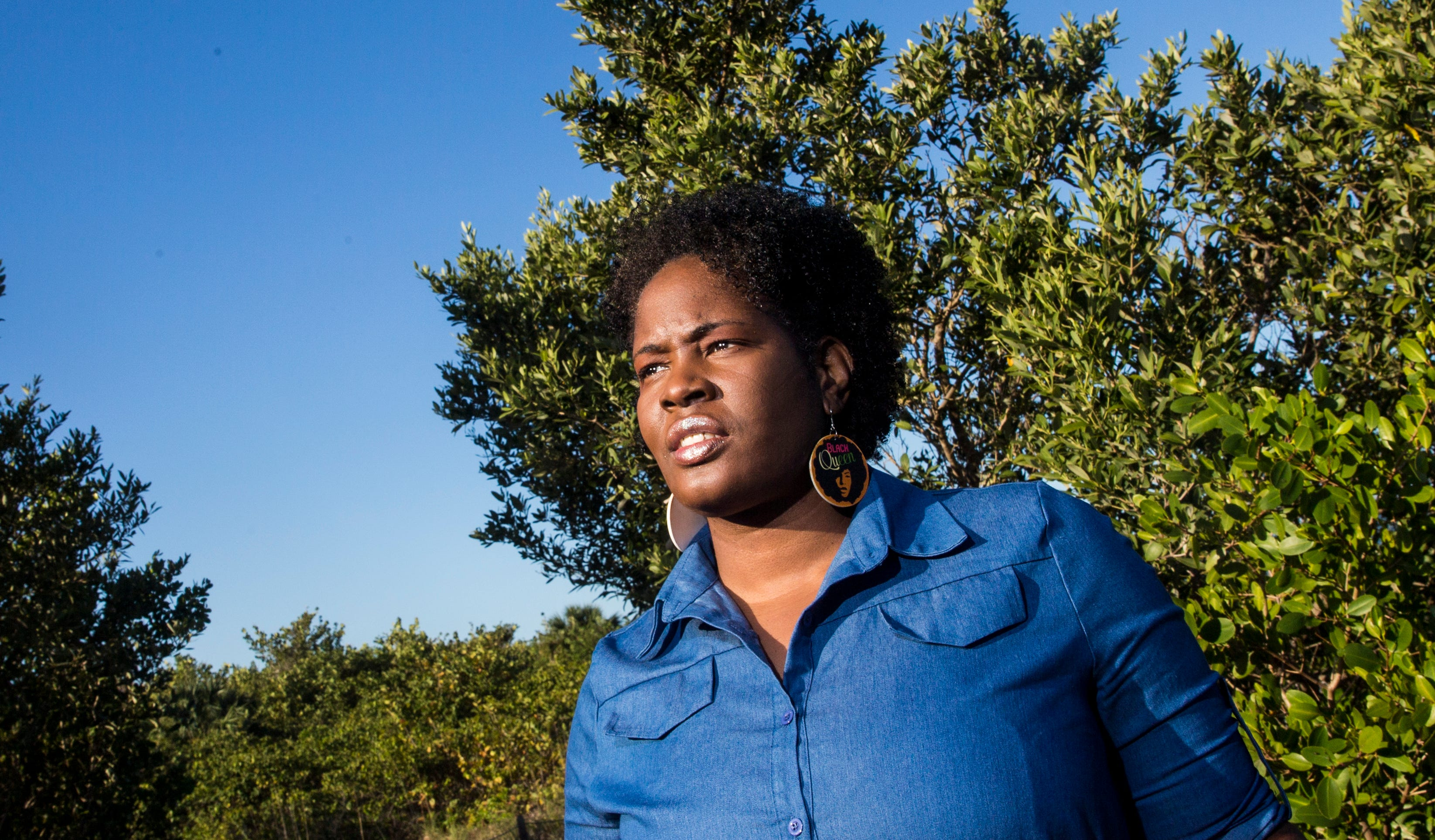 Heather Taylor stands for a portrait at Lovers Key State Park on Fort Myers Beach. She has called out racism on the force and spoken about white officers beating and even shooting their fellow Black officers.