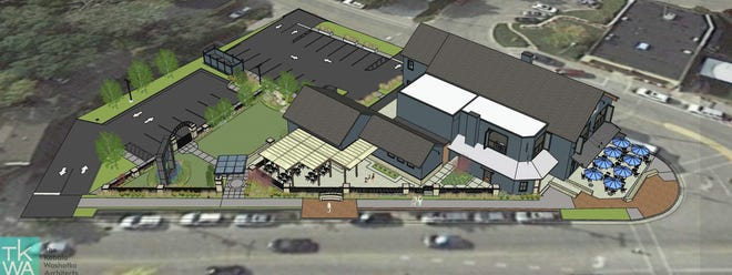 A rendering of the original proposal for building expansion, a new parking lot, beer garden and landscape features at Shipwrecked Brew Pub in Egg Harbor. The village's Plan Commission denied the plan because it requires a shared-use agreement for the new lot with a neighboring business.