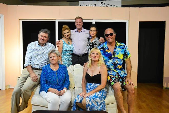 "The cast of the Marco Players ""The Bare Truth,"" from left: Jay Terzis, Jodee Bennett, Matt Flynn, Sharon Isern and Paul LoPresti; seated: Paula Keenan and Cheryl Duggan."