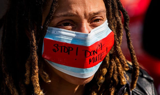 Celida Soto during a protest of HB445 at the Alabama Statehouse in Montgomery, Ala., on Tuesday March 9, 2021.