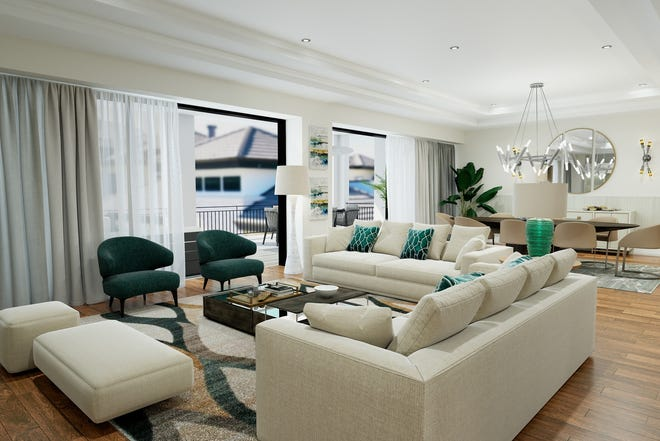 Quattro's four-bedroom plus den, four-and-a-half bath Bianca plan offers 3,875 square feet of living space with 3,437 square feet under air and 438 square feet of balcony space.  Courtyard facing Bianca residences are base priced at $2,425,000.