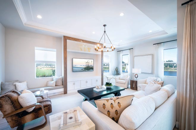 The 1,648 square-foot, two-bedroom, two-bath Stillwater Island Colonial, like the one shown here, is available for immediate move-in at Azure at Hacienda Lakes.