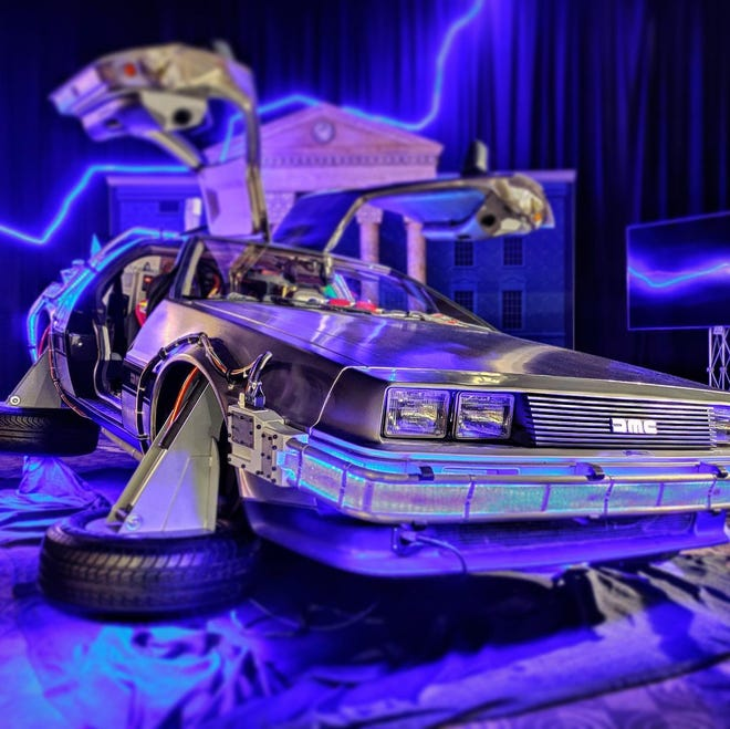 """Located insidethe Indian Mound Mall,""""The Experience"""" allows guests to get up close to the DeLorean Time Machine on the Hill Valley move set, from the film trilogy """"Back To The Future."""""""