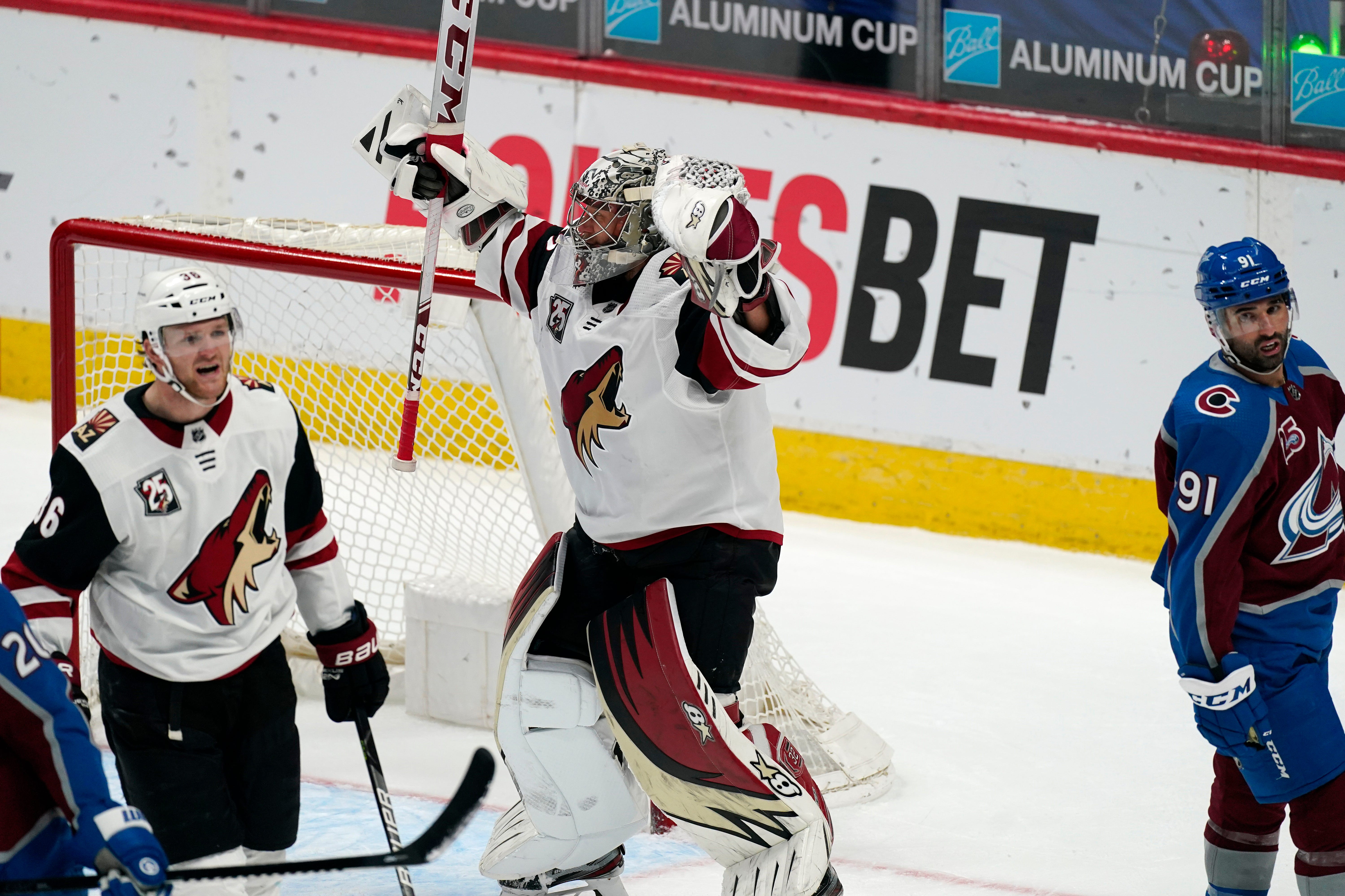 Coyotes goalie Antti Raanta was a little emotional in discussing his big win off the bench