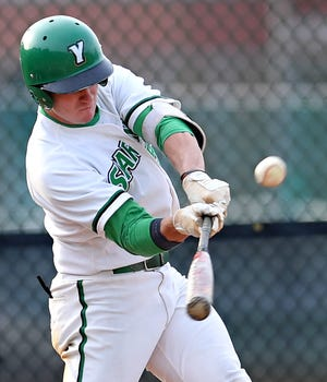 Austin Denlinger, seen here in a file photo, had four RBIs over the weekend for the Spartans.