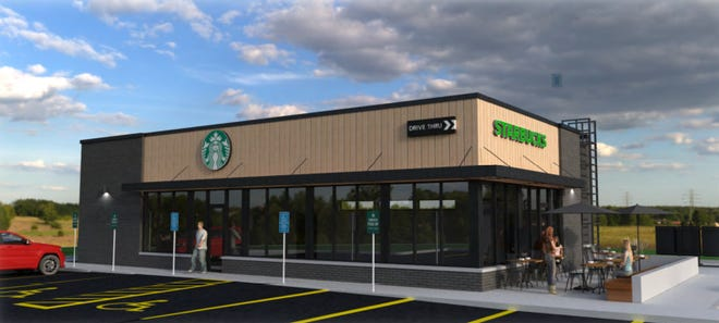 A rendering for a new Starbucks planned for 1865 Plover Road in Plover.