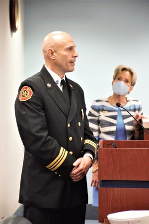 Chad Cianciulli speaks Tuesday during his appointment as chief of the Martin County Fire Rescue by county commissioners.