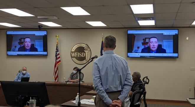 Wichita Falls ISD Superintendent Mike Kuhrt, shown in the screens, discusses agenda items during a school board meeting Tuesday, March 9, 2021.