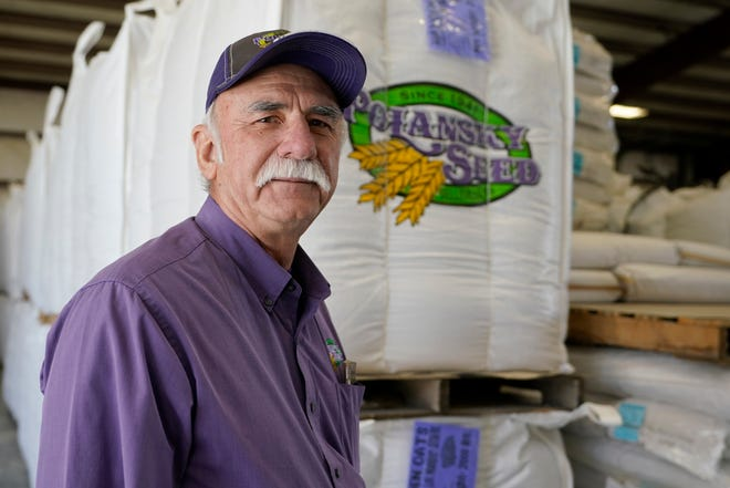 Adrian Polansky, a farmer and former executive director of the USDA's Farm Service Agency office in Kansas during the Obama administration,  stops for a photo while touring his seed processing plant near Belleville, Kan., Friday, March 5, 2021.  More than a year after two U.S. Department of Agriculture research agencies were moved from the nation's capital to Kansas City, they remain critically understaffed and some farmers are less confident in the work they produce.