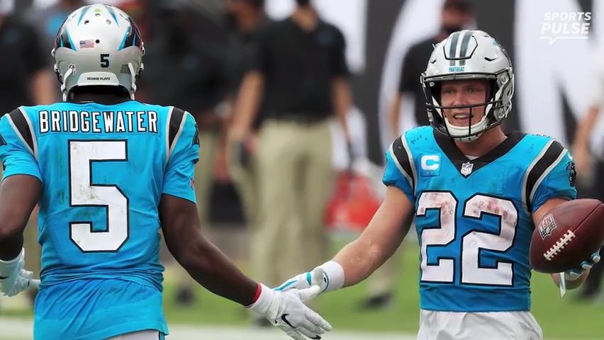 'He's a hell of a quarterback': McCaffrey defends Teddy Bridgewater, dismisses mock drafts having Panthers taking QB