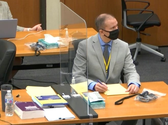 In this image from video, defendant and former Minneapolis police officer Derek Chauvin, right, listens as Hennepin County Judge PeterCahill presides over pretrial motions before jury selection Tuesday, March 9, 2021 at the Hennepin County Courthouse in Minneapolis.  Chauvin is charged in the May 25, 2020 death of George Floyd.