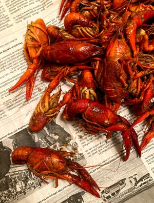 Vietnamese-style crawfish from La Crawfish are tossed in a chile oil before serving.