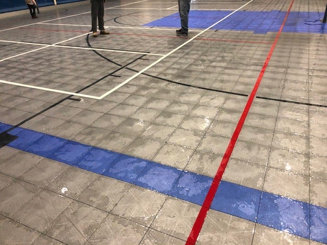 Water damage is shown to the gymnasium floor inside the Smithville Recreation Center. The damage occurred as a result of February's winter storm.
