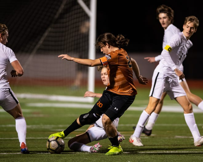 Niko Djordjevic controls the ball for Westwood during a District 25-6A match against Vandegrift Tuesday. A late penalty kick by Djordjevic lifted the Warriors to a 1-0 win and into first place in the district race.
