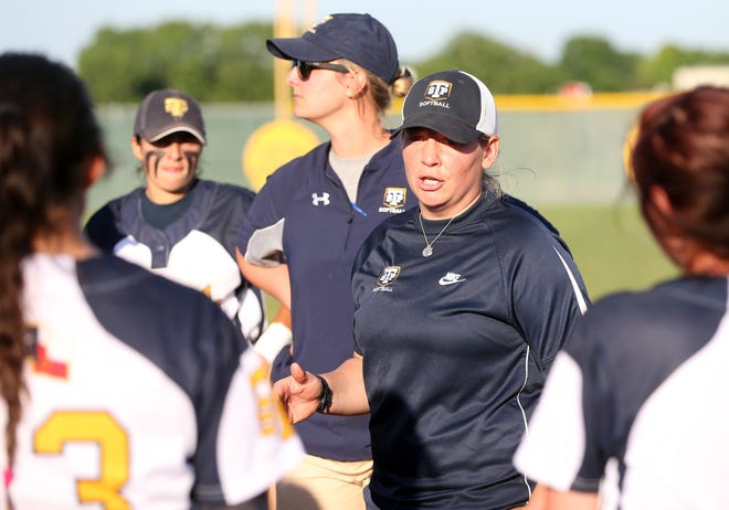 Stony Point head softball coach Christian Jonse and the Tigers picked up their first win in District 25-6A with an 18-5 win over Westwood March 9.