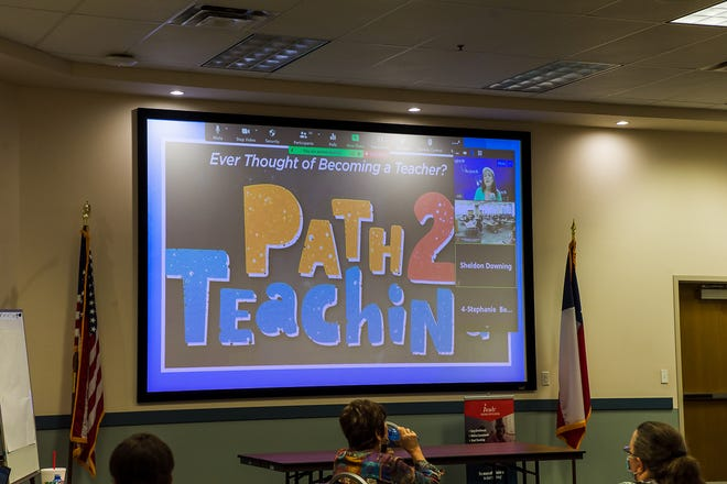 """Region 16 sponsored a """"Path 2 Teaching"""" event held at the conference center in Amarillo Tuesday evening. The event helps show a path for people that have a bachelor's degree how to become eligible for hire in school districts and obtain their teaching certificate. [Shaie Williams/for the Amarillo Globe-News]"""