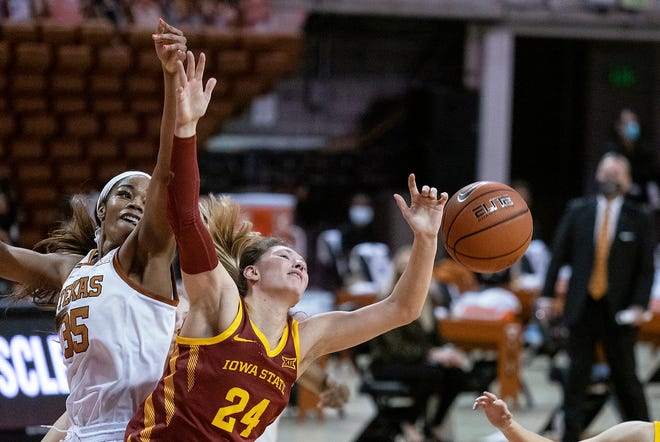 Texas forward Charli Collier and Iowa State guard Ashley Joens collide as they go for a rebound in Austin on Jan. 3. Collier and Joens were both named to the Big 12's all-conference team this week.