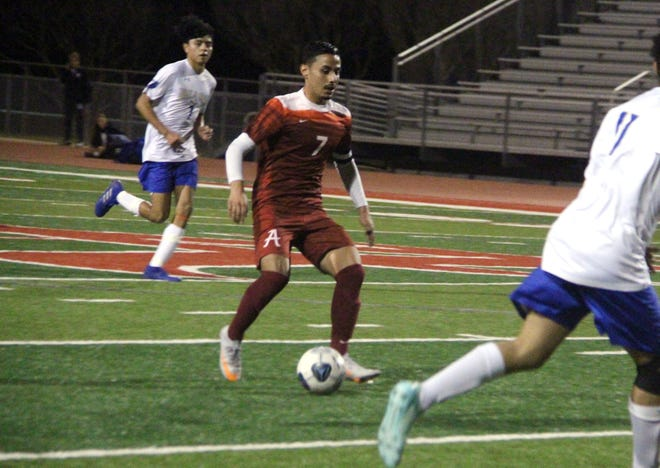 Ardmore's Juan Lopez brings in a pass Tuesday night. The senior scored a pair of goals in a 4-0 win over Noble.