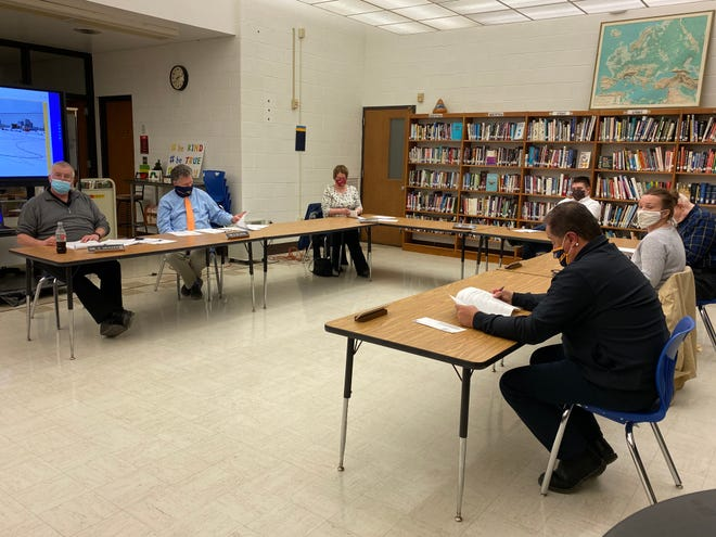 Hillsdale Board of Education listens to speakers at the beginning of the meeting, held on Tuesday evening.