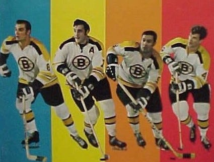 Among the Boston Bruins' top four scorers of 1971 are, from left: Ken Hodge, Phil Esposito, John Bucyk and Bobby Orr.