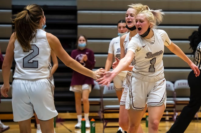 Beaver's Emma Pavelek congratulates her teammates after the Bobcats semifinal win over Knoch Tuesday at Beaver Area High School.