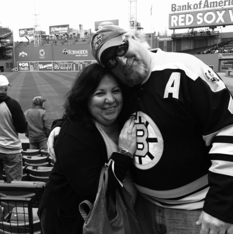Shawna Dennery with her husband, Chuck, at Fenway Park in Boston.