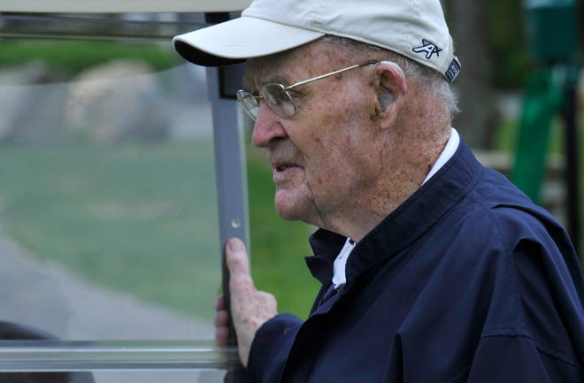 Longtime tournament director Jim Gaquin, on his 96th birthday, keeps an eye on the starters at the 2017 Cape Cod Open at the Olde Barnstable Fairgrounds Golf Club in Marstons Mills.