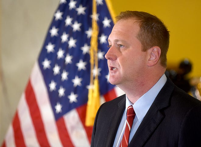 Missouri Attorney General Eric Schmitt talks to reporters during a news conference March 10 in Jefferson City.