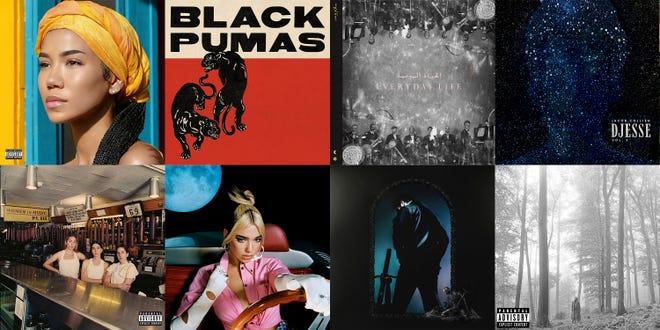This combination of photos shows cover art for Grammy nominees for Album of the Year. (Def Jam/ATO/Parlophone-Atlantic/Interscope-Decca-Hajanga/Columbia Records/Warner/Republic/Republic via AP)