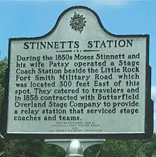 Near Delaware, Ark., is the station marker for Stinnett's Station. Moses and Patsy Stinnett established the stop in the 1850s along the Butterfield Stage Line.