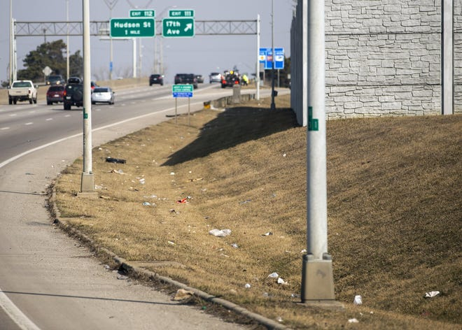 The roadway beside I-71 North on ramp from 11th Avenue in Columbus on Wednesday, March 10, 2021.