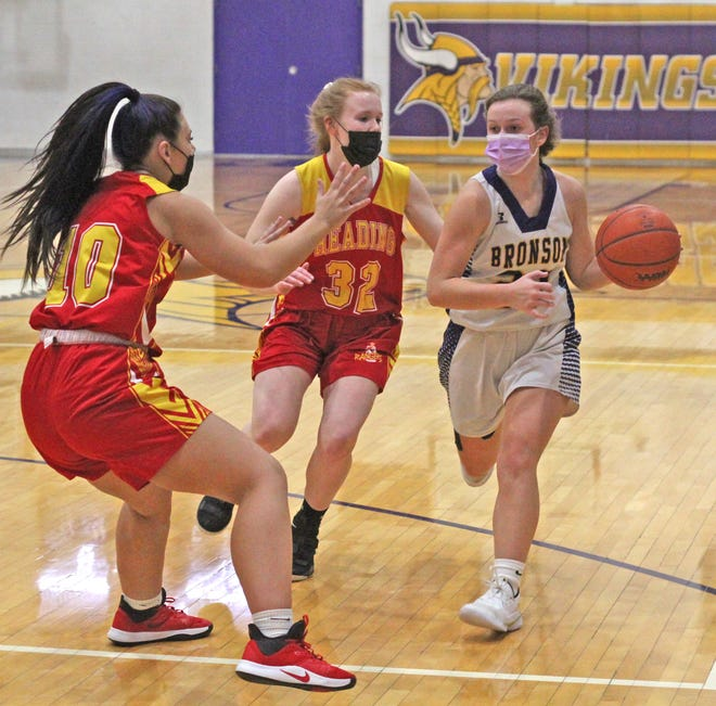 Bronson's Meagan Lasky, shown here in early season action versus Reading, hit a the game winning shot at the buzzer to push Bronson past Springport Tuesday night